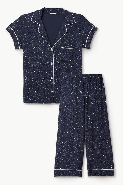 GISELE Printed S/S & Cropped PJ Set in Estrella Navy/Ivory