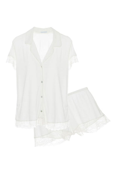 MALOU Shirt & Short PJ Set in Bone/Frosted Cream