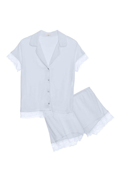 MALOU Shirt & Short PJ Set in Water Blue