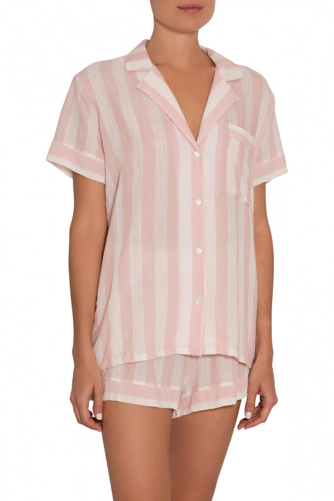 UMBRELLA STRIPES Woven Short PJ Set in Ballet Pink/Cloud