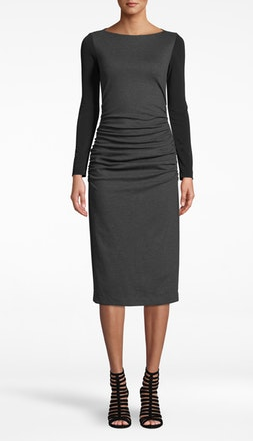 Ponte Long Sleeve Ruched Dress in Charcoal