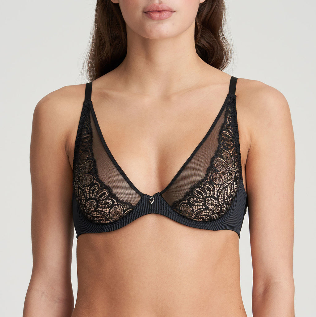 ANNA Plunge Underwire Bra in Black