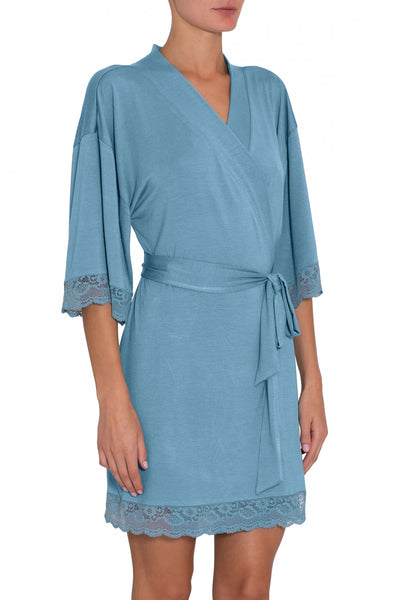 ANOUK Short Robe in Blue Shadow