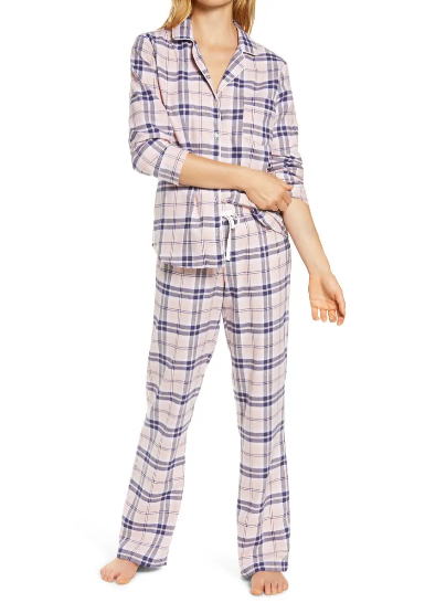 RAVEN Flannel PJ Set in Pink Cloud Plaid