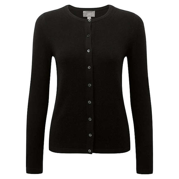 Cotton Viscose Cardigan in Black
