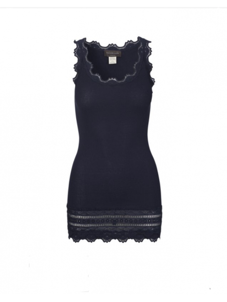 Vintage Long Silk & Lace Tank in Navy