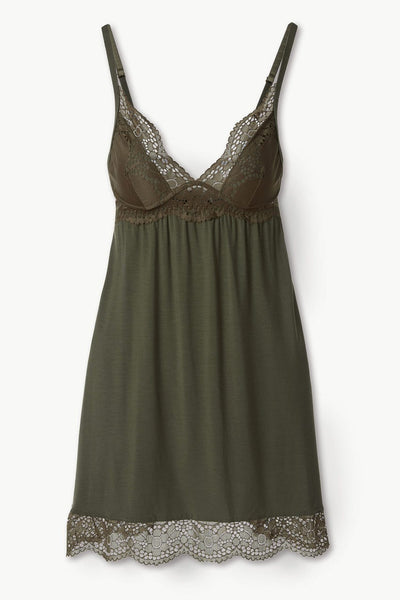 BEATRIX Plunge Chemise in Avocado