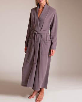 Cashmere Long Duster Robe in Sable