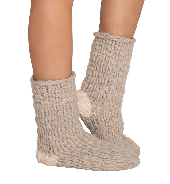 SCOUT Wide-Knit Slipper Socks in Moonbeam/Ivory