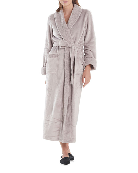 Plush Sherpa Long Robe in Silver Pearl