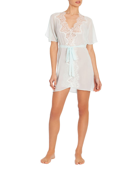 STEPHANIE Lace & Chiffon Wrapper Robe in Pale Aqua