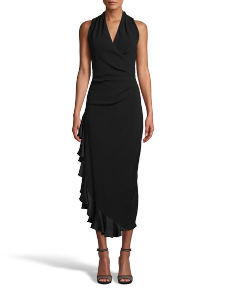 STEFANIE Dress with Side Ruffle in Black