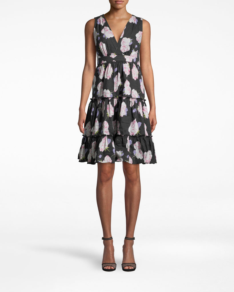 Floral A-Line Dress in Rosa Gallica