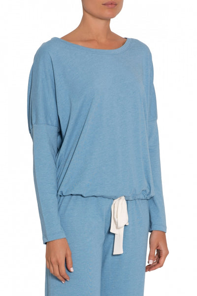HEATHER Slouchy Top & Cropped Pant PJ Set in Blue Shadow