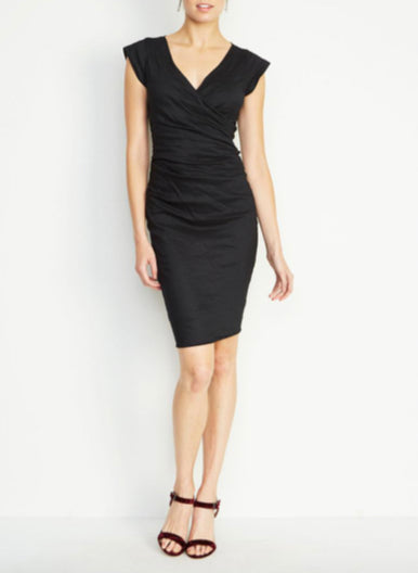 BECKETT Techno Metal Sheath Dress in Black