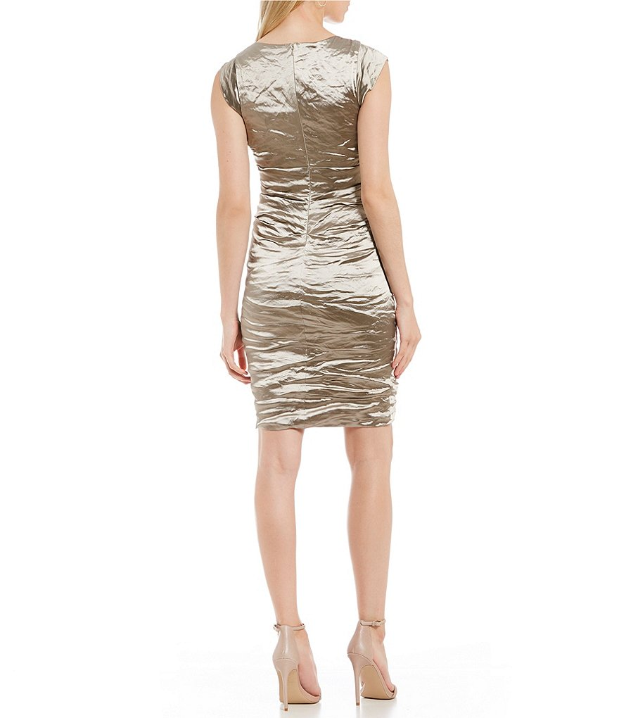 BECKETT Techno Metal Sheath Dress in Cava