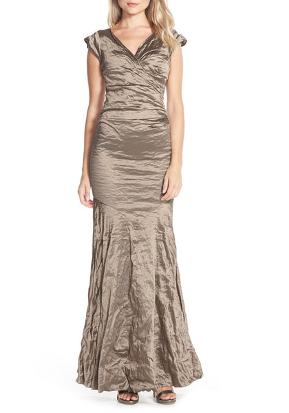Techno Metal Surplice Tuck Gown in Cava