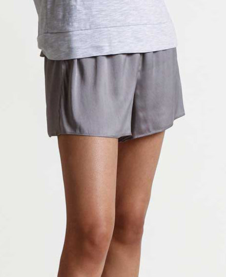 TRISTA Silk Shorts in Palladium