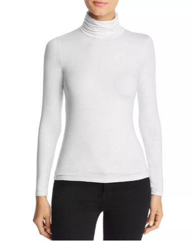 Soft Touch Long Sleeve Turtleneck in Blanc