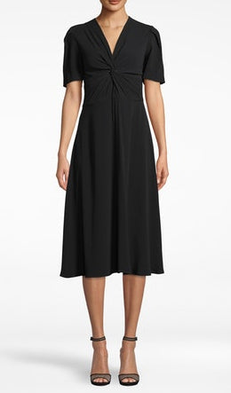 Twist Front Short Sleeve Midi Dress in Black
