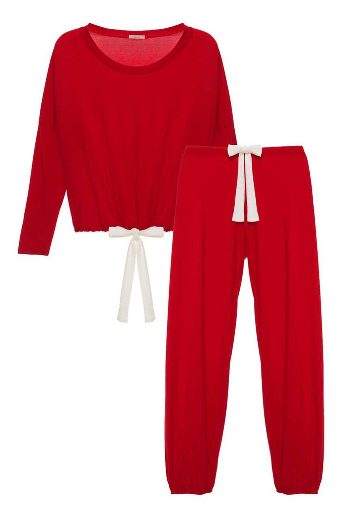 GISELE Slouchy Set in Haute Red/Ivory