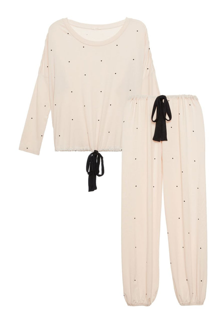 DOTS Slouchy PJ Set in Shell/Black