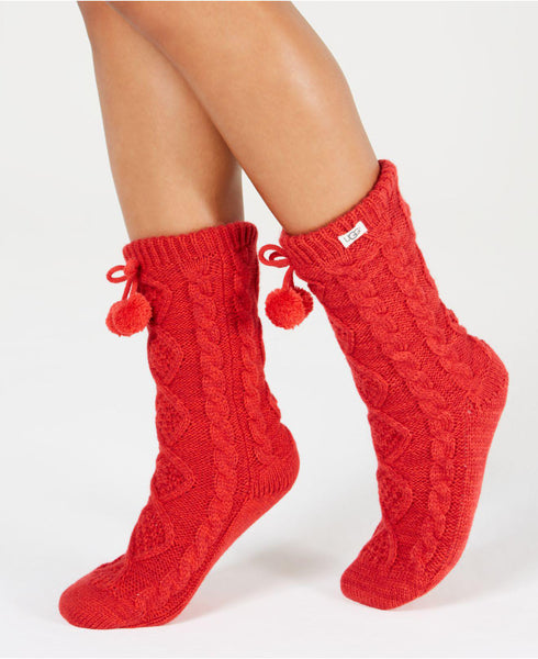 POM POM Fleece Lined Cozy Socks in Poppy Red