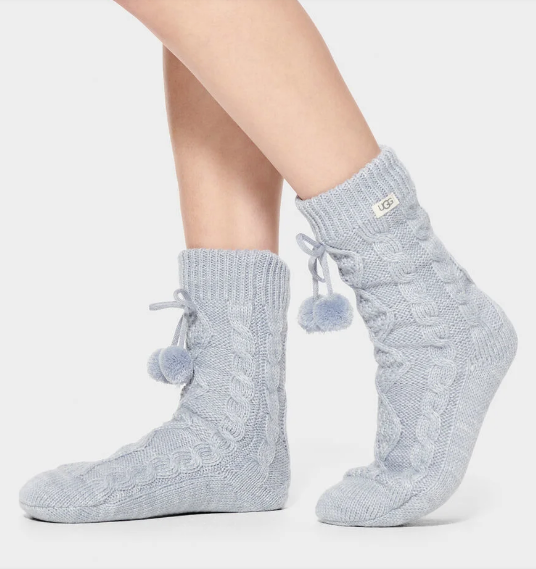 POM POM Fleece Lined Cozy Socks in Fresh Air