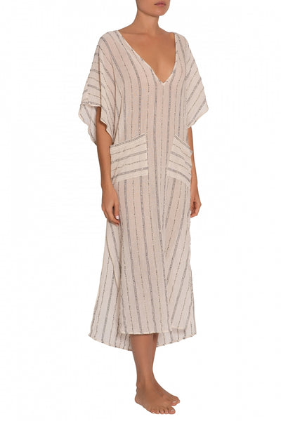 LUZ Boho Gauze Caftan in Cloud/Black