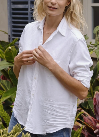 EILEEN Frayed Famous Denim Shirt in White