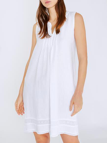 NEVADA Knife Pleat Midi Dress in White