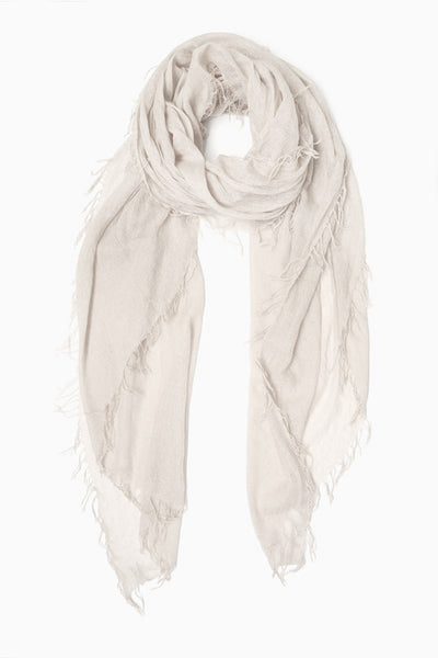 Cashmere & Silk Lurex Scarf in White/Silver