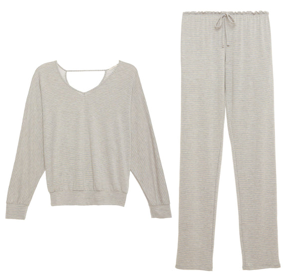 SADIE STRIPES Dolman & Leggings PJ Set in Heather Grey/Oatmeal
