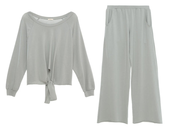 BLAIR Knotted Top & Cropped Pant PJ Set in Willow Green
