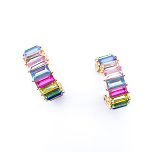 Rainbow Rhinestone Huggie Earrings