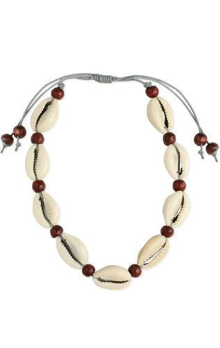 Sandy Beaches Wood & Cowrie Bead Anklet