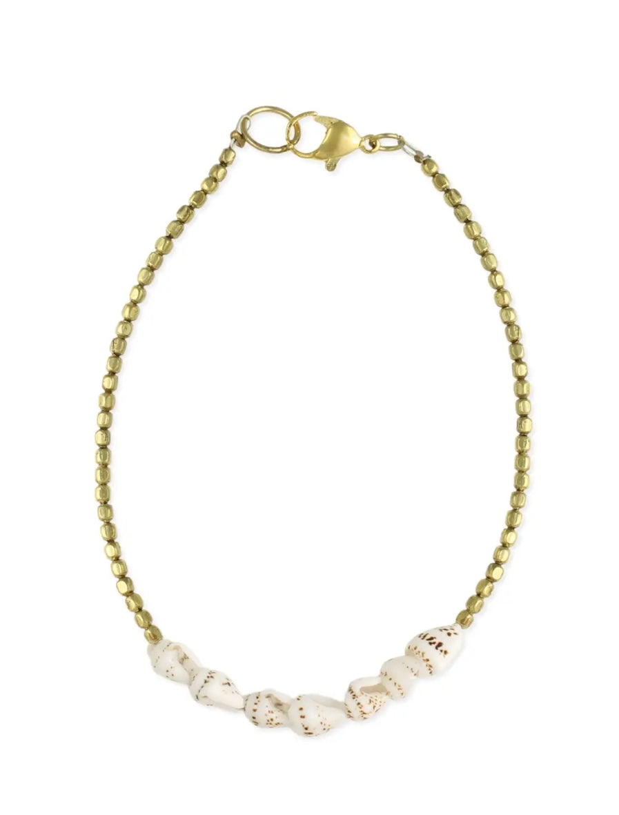 Spiral Shell &Gold Bead Anklet