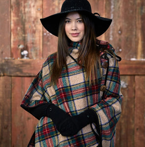 Patrick Plaid Button Poncho