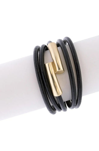 Strand Leather Tube Bracelet