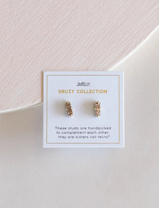 Rose Gold Druzy Bar Stud