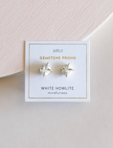 White Howlite Prong Earring