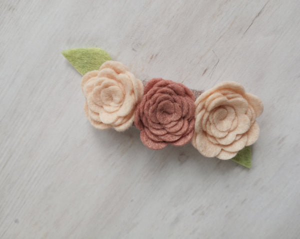 Rosette Trio - light pink and dusty rose