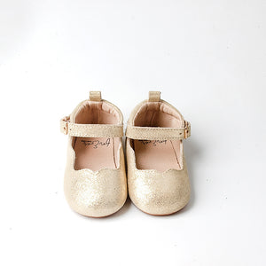 Gold Shimmer Scalloped Flats