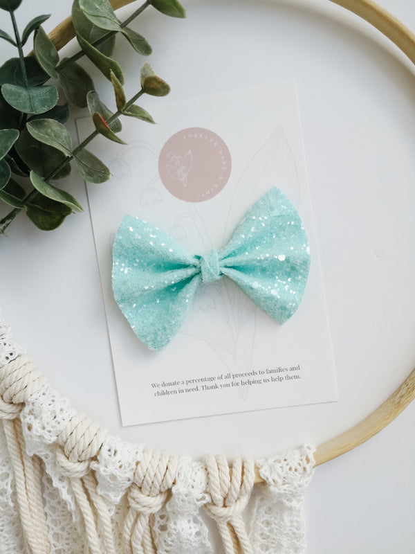 Light Blue Sugar Glitter Bow