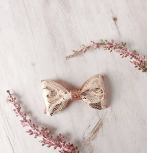 Rose Gold Lace Adeline Bow
