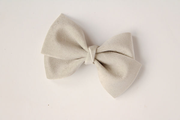 Velour Ice Grey Alison Bow