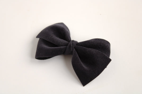 Velour Navy Alison Bow