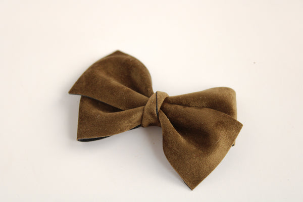 Velour Olive Alison Bow