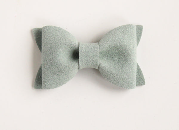 Suede Dusty Blue Adeline Bow