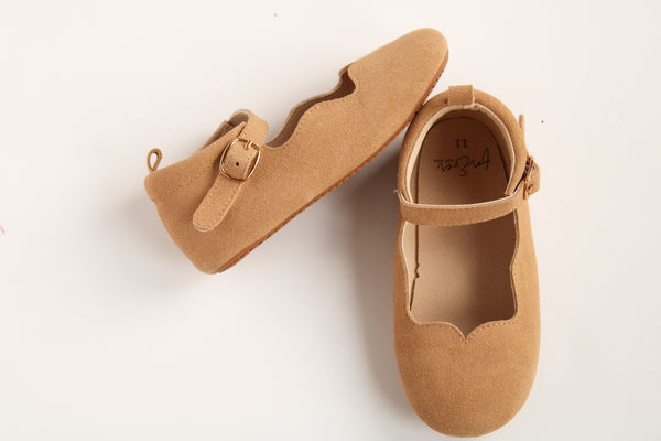 Beige Suede Scalloped Flats